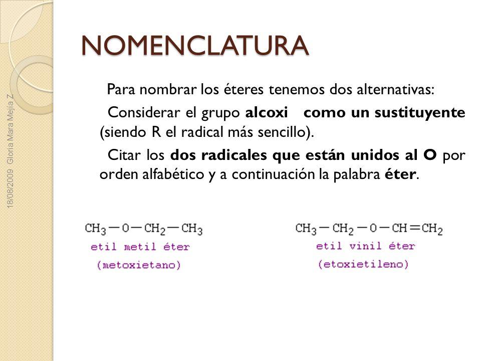 NOMENCLATURA Para nombrar los éteres tenemos dos alternativas: Considerar el grupo alcoxi como un sustituyente (siendo R el radical más sencillo). Cit