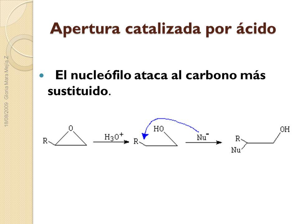 Apertura catalizada por ácido El nucleófilo ataca al carbono más sustituido. 18/08/2009 Gloria Mara Mejía Z