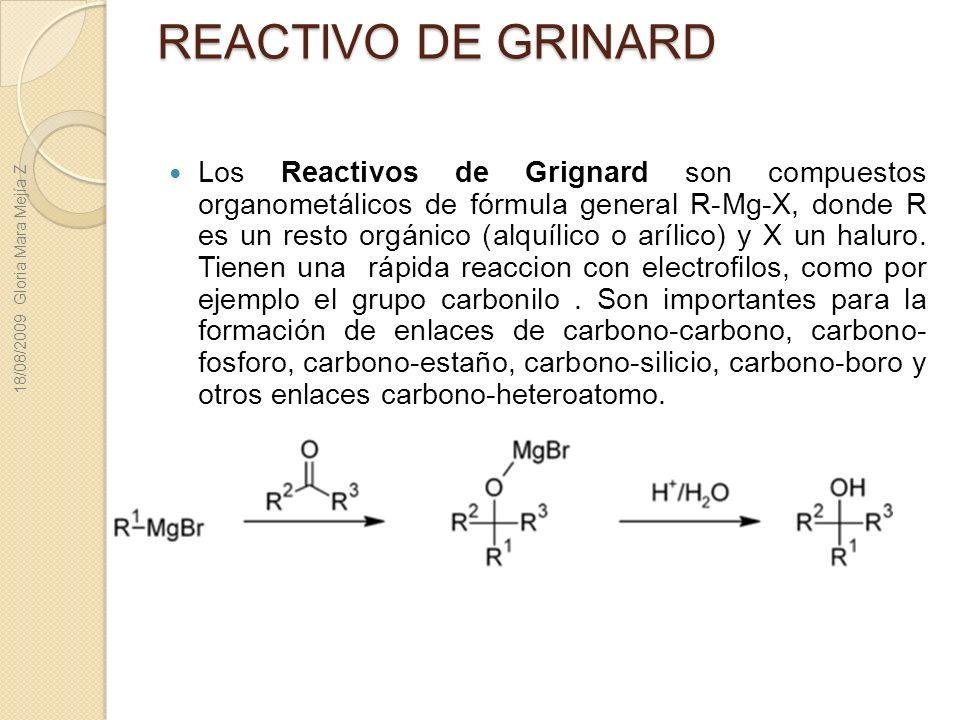 REACTIVO DE GRINARD Los Reactivos de Grignard son compuestos organometálicos de fórmula general R-Mg-X, donde R es un resto orgánico (alquílico o aríl