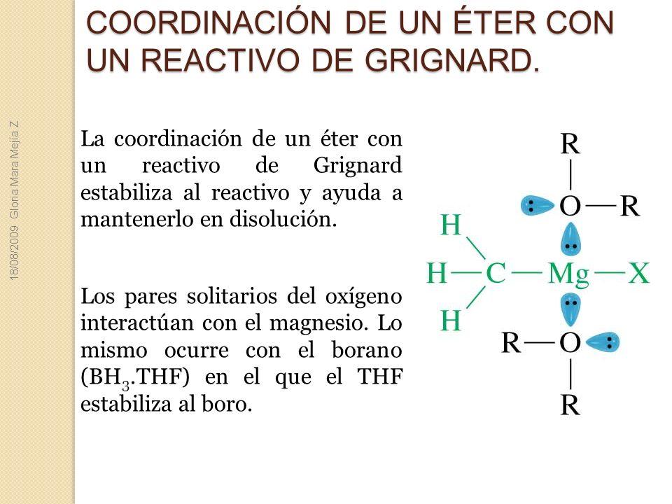COORDINACIÓN DE UN ÉTER CON UN REACTIVO DE GRIGNARD. La coordinación de un éter con un reactivo de Grignard estabiliza al reactivo y ayuda a mantenerl