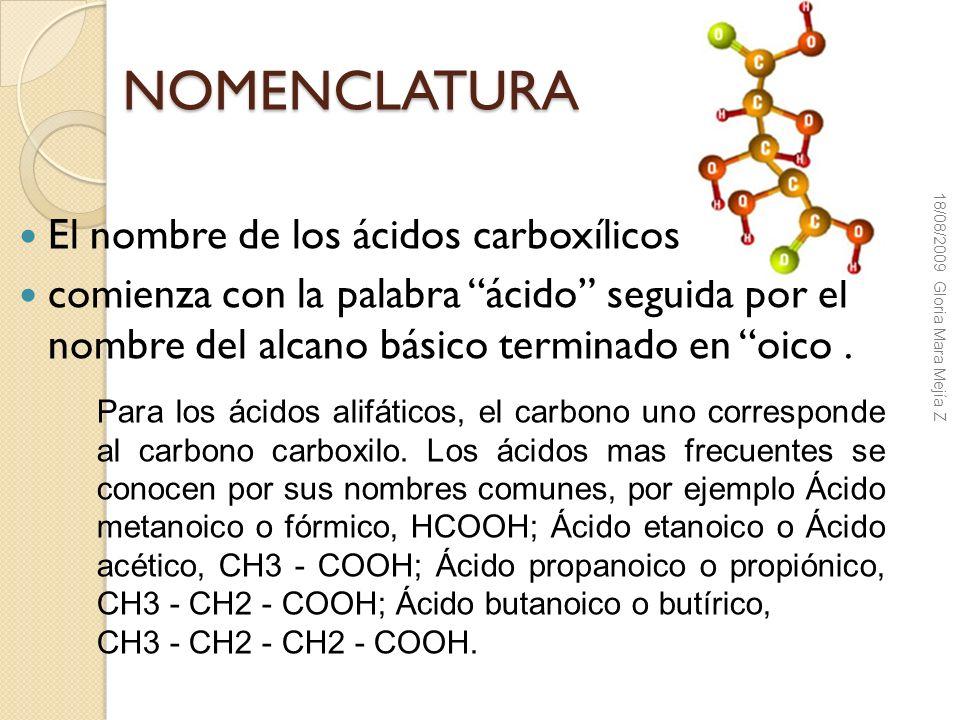 NOMENCLATURA El nombre de los ácidos carboxílicos comienza con la palabra ácido seguida por el nombre del alcano básico terminado en oico. Para los ác