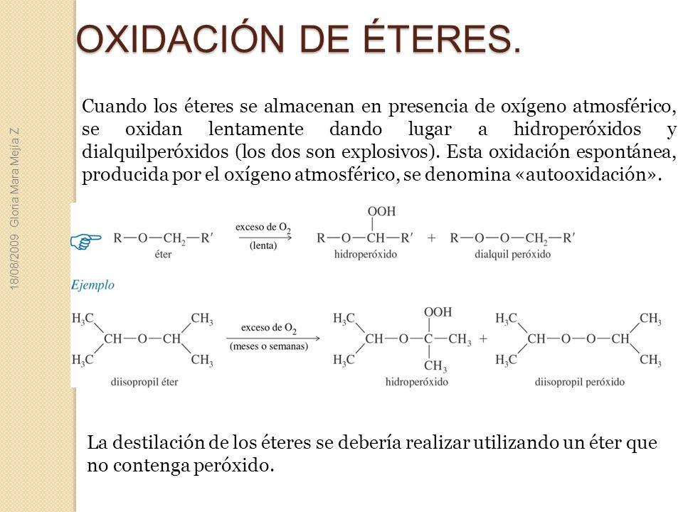 OXIDACIÓN DE ÉTERES. Cuando los éteres se almacenan en presencia de oxígeno atmosférico, se oxidan lentamente dando lugar a hidroperóxidos y dialquilp