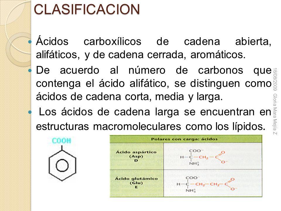 CLASIFICACION Ácidos carboxílicos de cadena abierta, alifáticos, y de cadena cerrada, aromáticos. De acuerdo al número de carbonos que contenga el áci