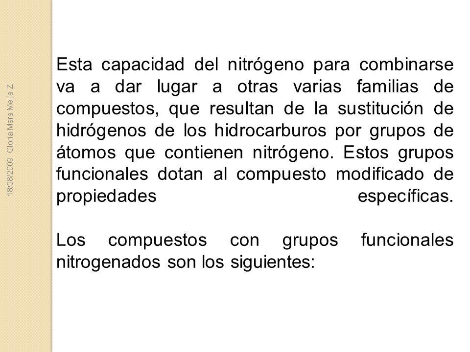 Esta capacidad del nitrógeno para combinarse va a dar lugar a otras varias familias de compuestos, que resultan de la sustitución de hidrógenos de los