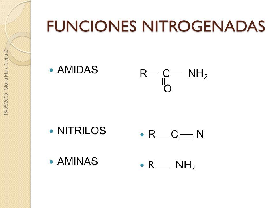 FUNCIONES NITROGENADAS AMIDAS NITRILOS AMINAS R C NH 2 O R C N R NH 2 18/08/2009 Gloria Mara Mejía Z