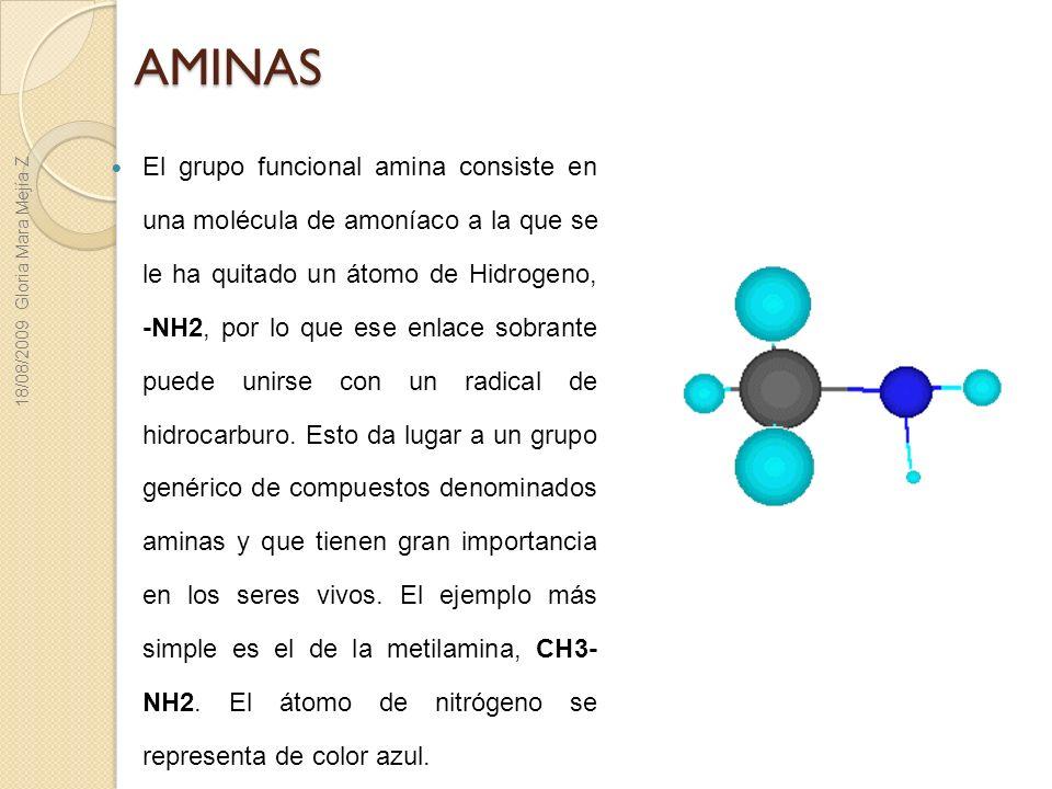 AMINAS El grupo funcional amina consiste en una molécula de amoníaco a la que se le ha quitado un átomo de Hidrogeno, -NH2, por lo que ese enlace sobr