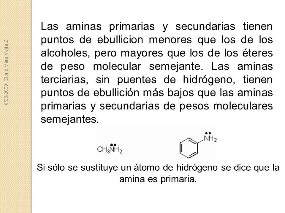 Las aminas primarias y secundarias tienen puntos de ebullicion menores que los de los alcoholes, pero mayores que los de los éteres de peso molecular
