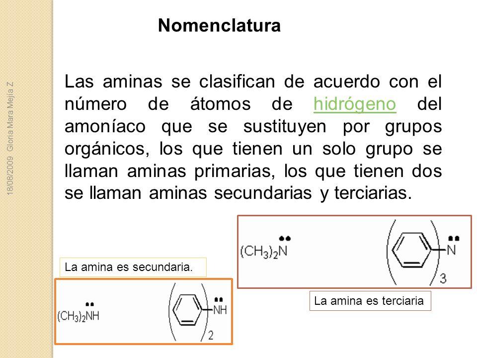 Las aminas se clasifican de acuerdo con el número de átomos de hidrógeno del amoníaco que se sustituyen por grupos orgánicos, los que tienen un solo g