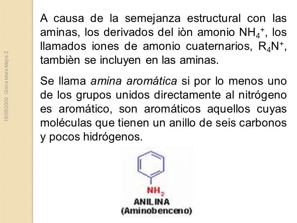 A causa de la semejanza estructural con las aminas, los derivados del iòn amonio NH 4 +, los llamados iones de amonio cuaternarios, R 4 N +, tambièn s