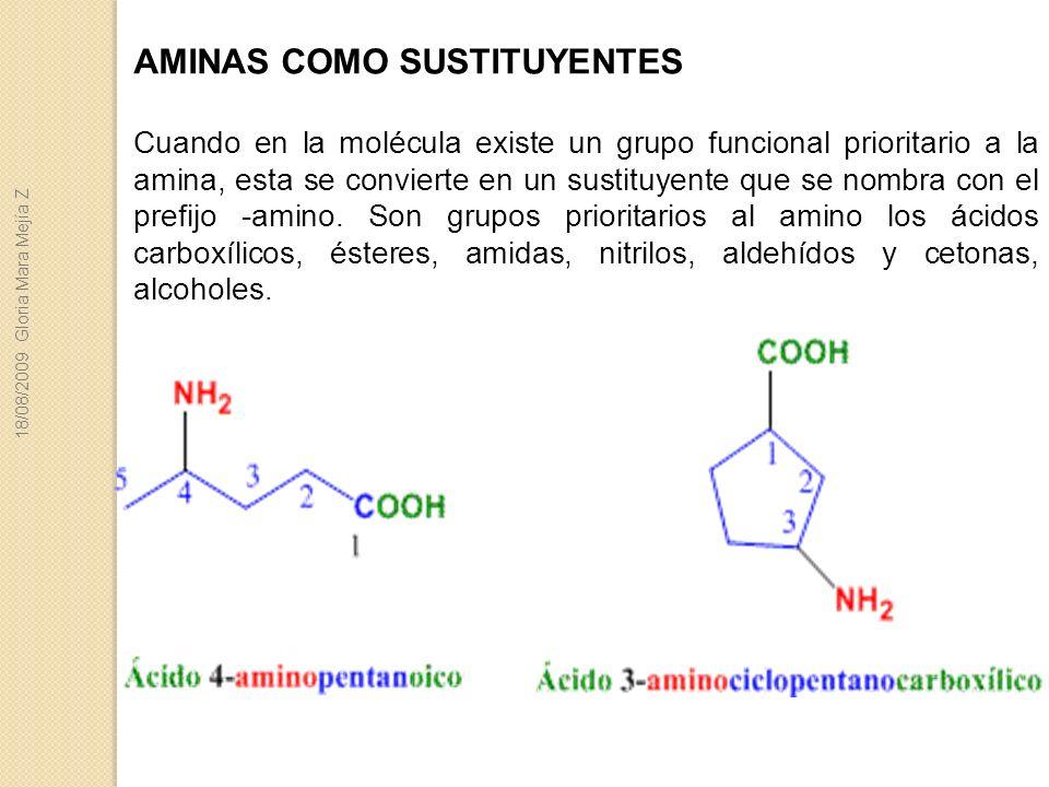 AMINAS COMO SUSTITUYENTES Cuando en la molécula existe un grupo funcional prioritario a la amina, esta se convierte en un sustituyente que se nombra c