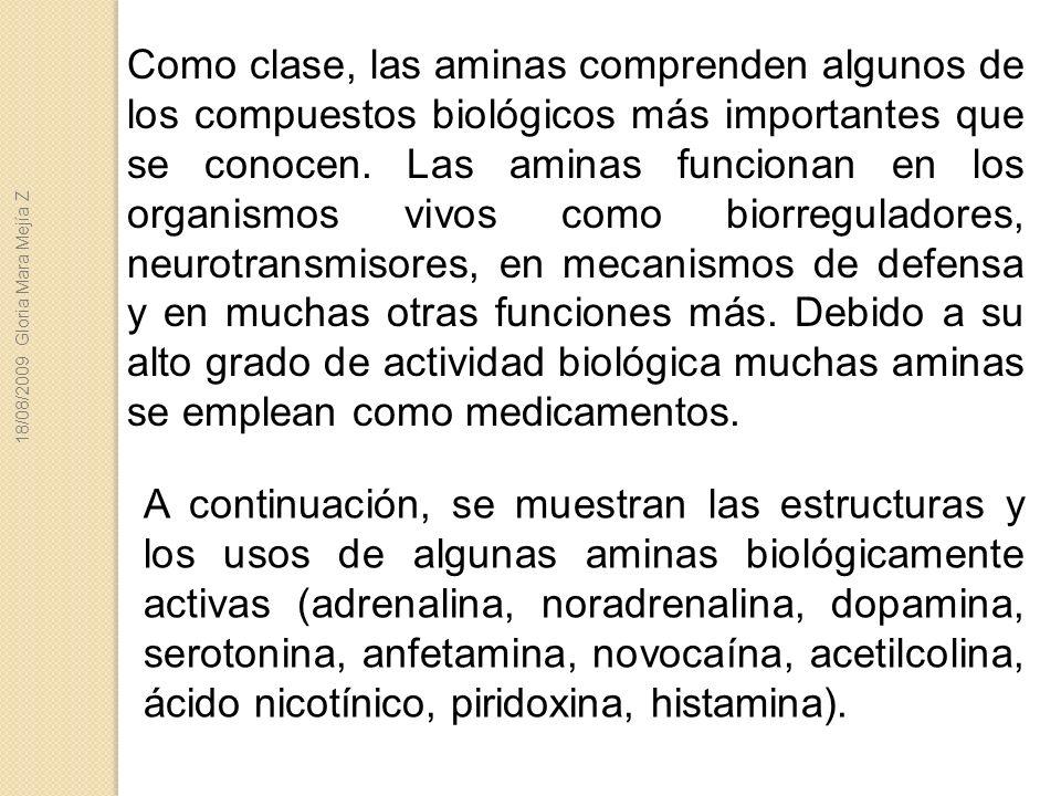 Como clase, las aminas comprenden algunos de los compuestos biológicos más importantes que se conocen. Las aminas funcionan en los organismos vivos co