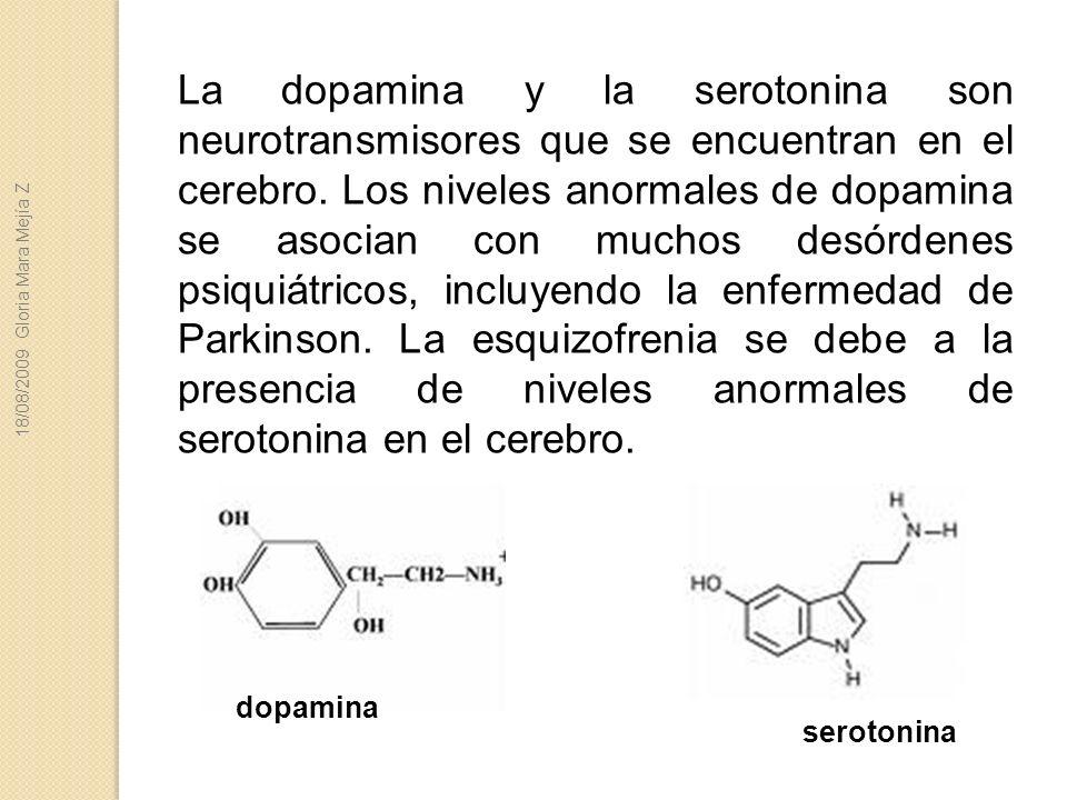 La dopamina y la serotonina son neurotransmisores que se encuentran en el cerebro. Los niveles anormales de dopamina se asocian con muchos desórdenes