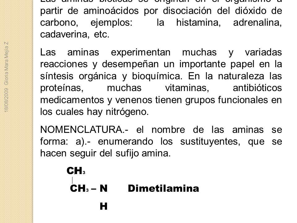 Las aminas bióticas se originan en el organismo a partir de aminoácidos por disociación del dióxido de carbono, ejemplos: la histamina, adrenalina, ca