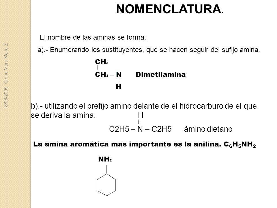 b).- utilizando el prefijo amino delante de el hidrocarburo de el que se deriva la amina. H C2H5 – N – C2H5 ámino dietano La amina aromática mas impor