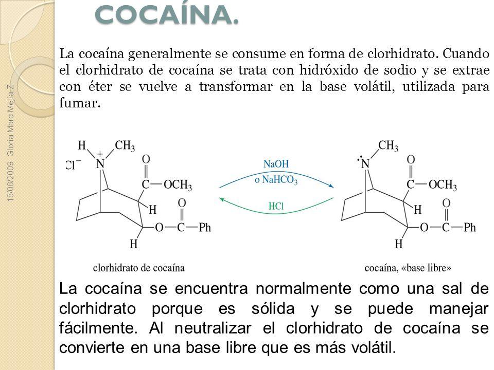 COCAÍNA. La cocaína generalmente se consume en forma de clorhidrato. Cuando el clorhidrato de cocaína se trata con hidróxido de sodio y se extrae con