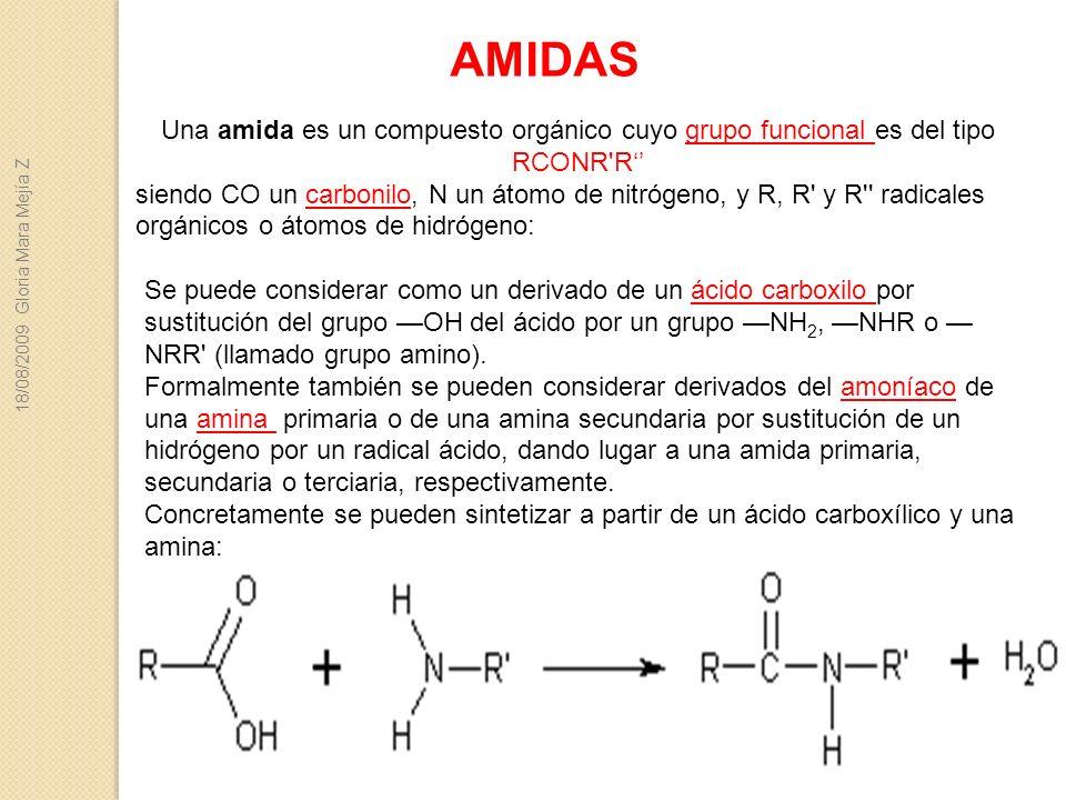 Se puede considerar como un derivado de un ácido carboxilo por sustitución del grupo OH del ácido por un grupo NH 2, NHR o NRR' (llamado grupo amino).