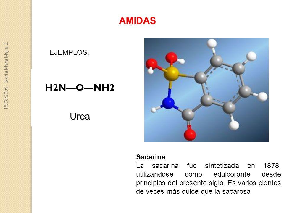AMIDAS Sacarina La sacarina fue sintetizada en 1878, utilizándose como edulcorante desde principios del presente siglo. Es varios cientos de veces más
