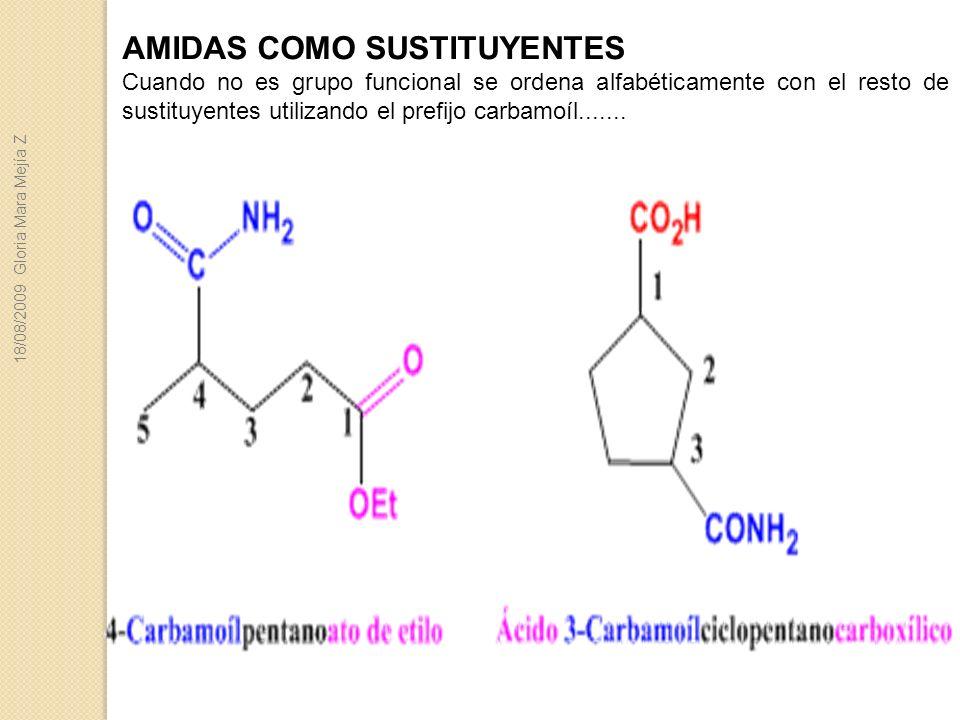 AMIDAS COMO SUSTITUYENTES Cuando no es grupo funcional se ordena alfabéticamente con el resto de sustituyentes utilizando el prefijo carbamoíl.......