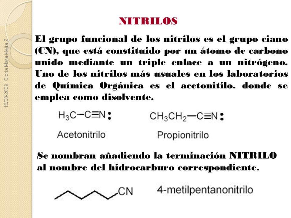 El grupo funcional de los nitrilos es el grupo ciano (CN), que está constituido por un átomo de carbono unido mediante un triple enlace a un nitrógeno