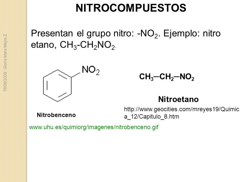NITROCOMPUESTOS Presentan el grupo nitro: -NO 2. Ejemplo: nitro etano, CH 3 -CH 2 NO 2. Nitrobenceno www.uhu.es/quimiorg/imagenes/nitrobenceno.gif CH
