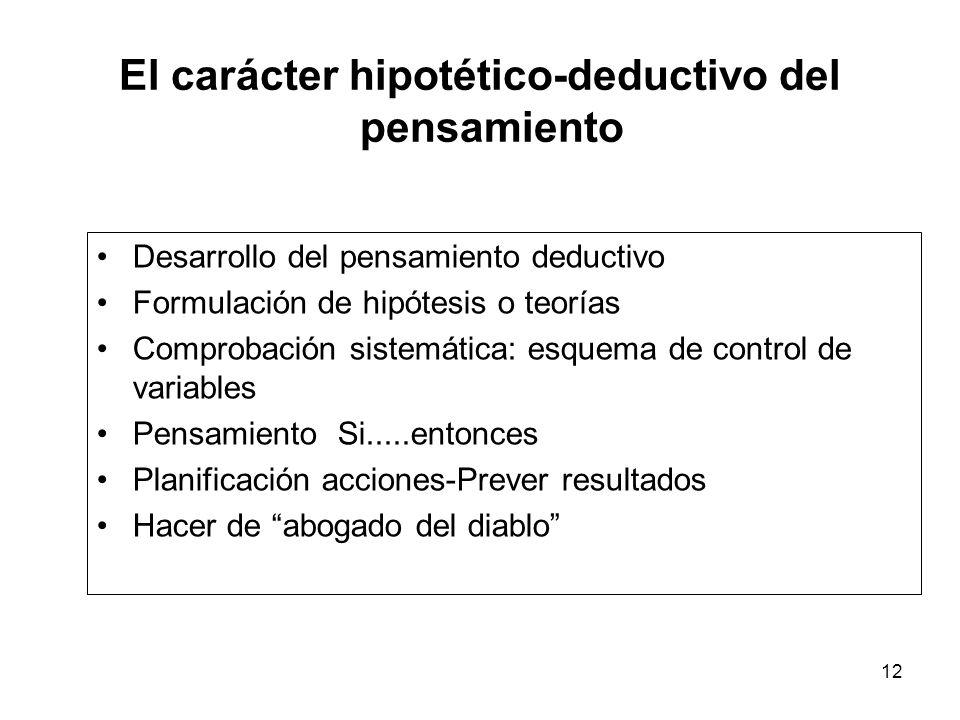 11 El carácter proposicional del pensamiento Proposiciones verbales como medio de expresar hipótesis y razonamientos Dominio de la disyunción ( A o B)