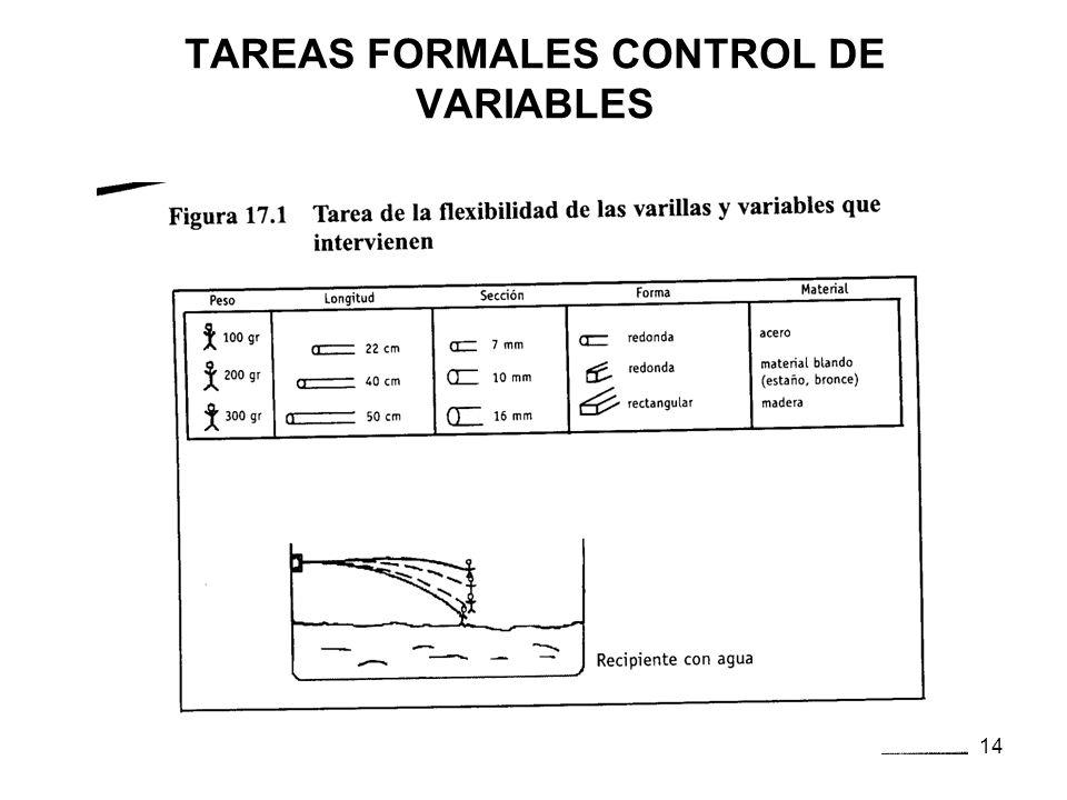 13 Etapa del pensam. formal (a partir de los 11-12 años) (2) Características (cont.): Control sistemático de las variables: es capaz de analizar los f
