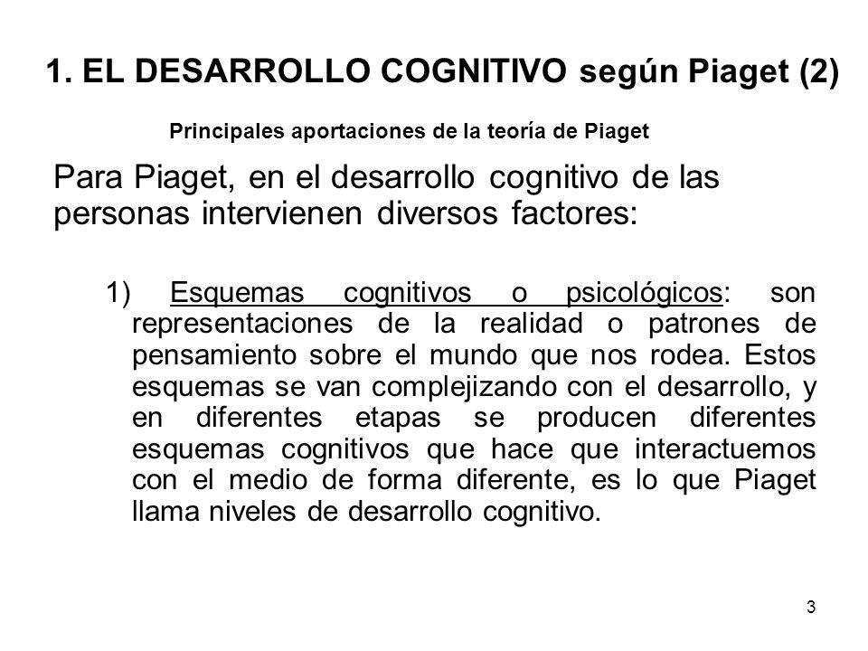 2 1. EL DESARROLLO COGNITIVO según Piaget (I) Jean Piaget se inició como biólogo en las primeras décadas del sigo XX. - La interacción con el medio am