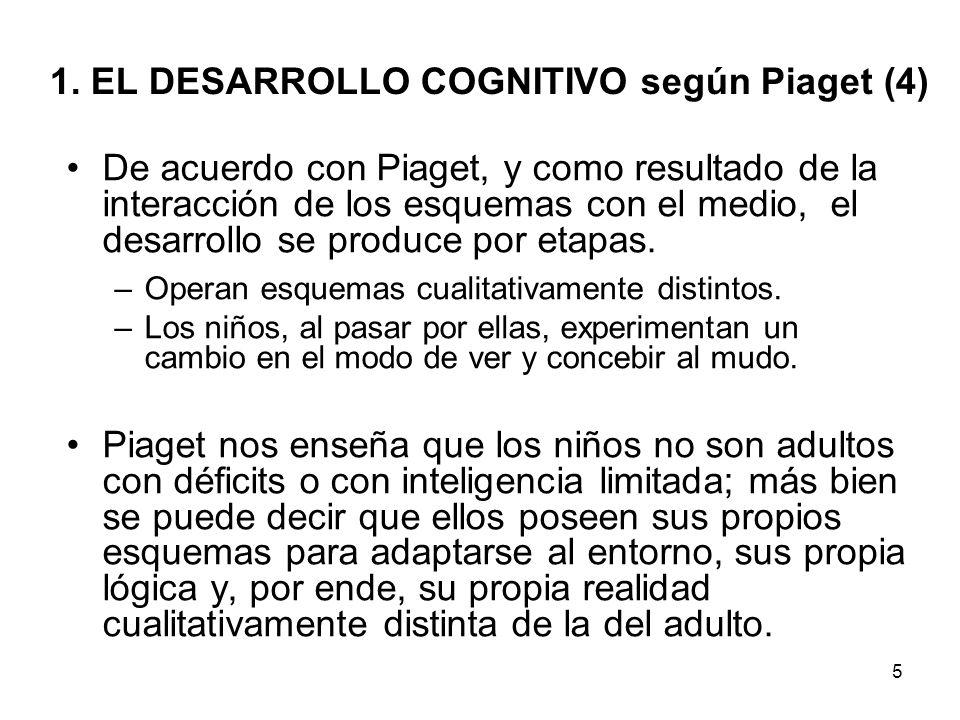 4 1. EL DESARROLLO COGNITIVO según Piaget (3) 2) La adaptación: es la interacción efectiva entre individuo y entorno, que ocurre a través de dos proce