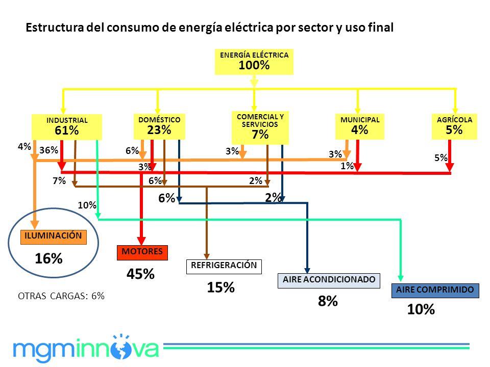 ENERGÍA ELÉCTRICA 100% ILUMINACIÓN MOTORES REFRIGERACIÓN AIRE ACONDICIONADO AIRE COMPRIMIDO 4% 36% 7% 10% 6% 3% 6% 3% 2% 3% 5% 16% 45% 15% 8% 10% OTRA
