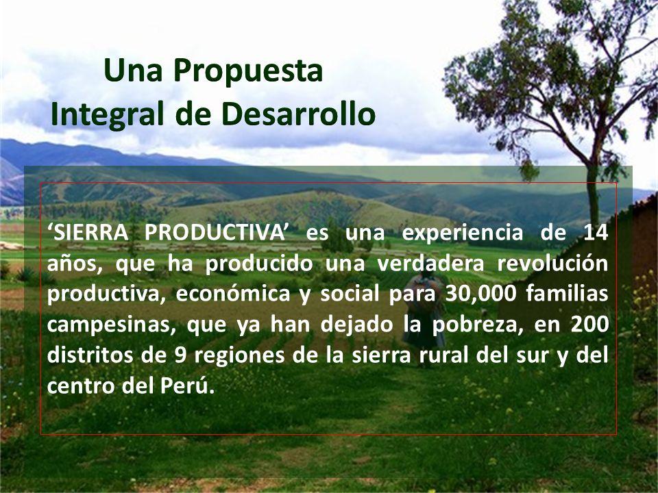 SIERRA PRODUCTIVA es una experiencia de 14 años, que ha producido una verdadera revolución productiva, económica y social para 30,000 familias campesi