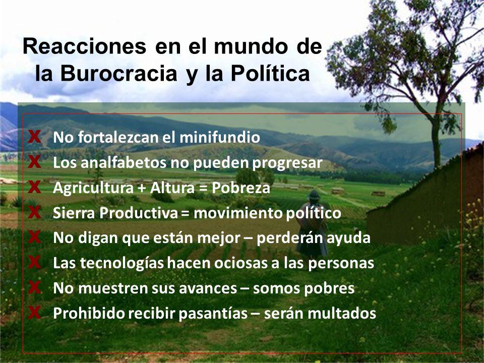 X No fortalezcan el minifundio X Los analfabetos no pueden progresar X Agricultura + Altura = Pobreza X Sierra Productiva = movimiento político X No d