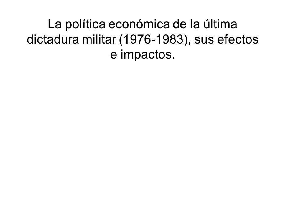 La política económica de la última dictadura militar (1976-1983), sus efectos e impactos.