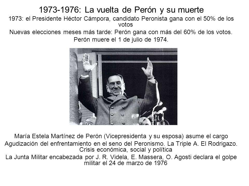 1973-1976: La vuelta de Perón y su muerte 1973: el Presidente Héctor Cámpora, candidato Peronista gana con el 50% de los votos Nuevas elecciones meses más tarde: Perón gana con más del 60% de los votos.