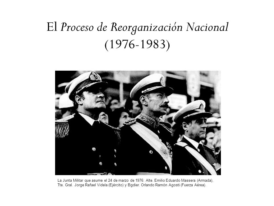 El Proceso de Reorganización Nacional (1976-1983) La Junta Militar que asume el 24 de marzo de 1976: Alte. Emilio Eduardo Massera (Armada), Tte. Gral.