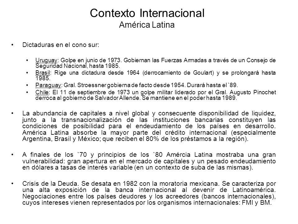 Contexto Internacional América Latina Dictaduras en el cono sur: Uruguay: Golpe en junio de 1973. Gobiernan las Fuerzas Armadas a través de un Consejo