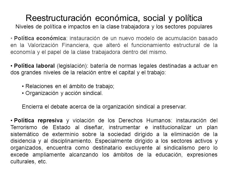Reestructuración económica, social y política Niveles de política e impactos en la clase trabajadora y los sectores populares Política económica: inst