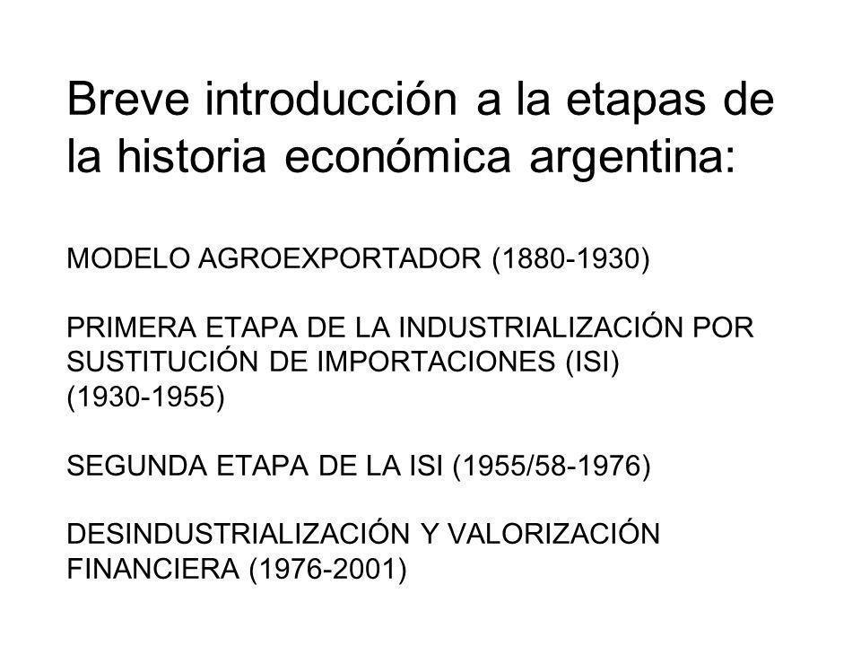 Breve introducción a la etapas de la historia económica argentina: MODELO AGROEXPORTADOR (1880-1930) PRIMERA ETAPA DE LA INDUSTRIALIZACIÓN POR SUSTITUCIÓN DE IMPORTACIONES (ISI) (1930-1955) SEGUNDA ETAPA DE LA ISI (1955/58-1976) DESINDUSTRIALIZACIÓN Y VALORIZACIÓN FINANCIERA (1976-2001)
