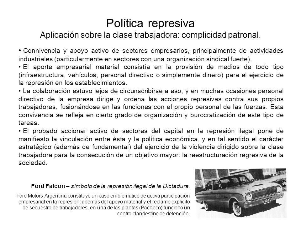 Política represiva Aplicación sobre la clase trabajadora: complicidad patronal. Connivencia y apoyo activo de sectores empresarios, principalmente de
