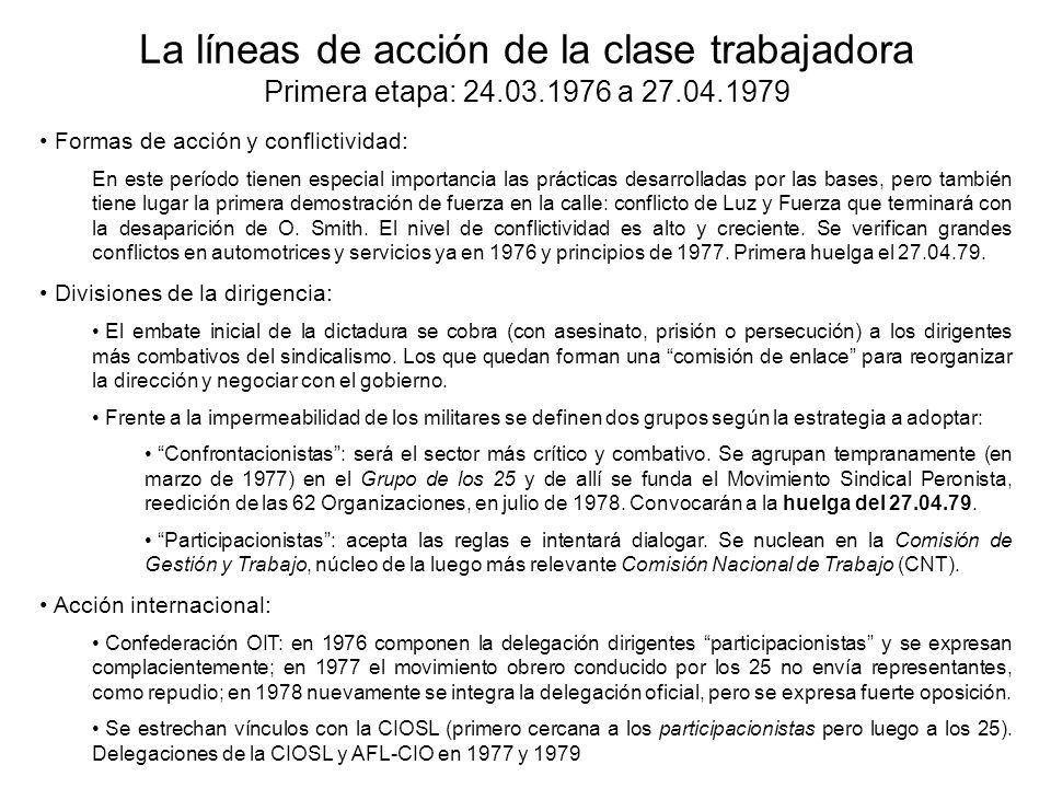 La líneas de acción de la clase trabajadora Primera etapa: 24.03.1976 a 27.04.1979 Formas de acción y conflictividad: En este período tienen especial