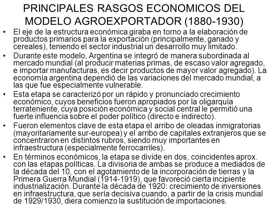 PRINCIPALES RASGOS ECONOMICOS DEL MODELO AGROEXPORTADOR (1880-1930) El eje de la estructura económica giraba en torno a la elaboración de productos primarios para la exportación (principalmente, ganado y cereales), teniendo el sector industrial un desarrollo muy limitado.