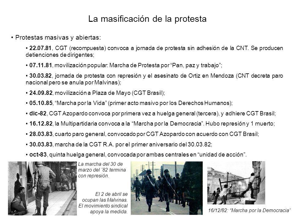 La masificación de la protesta Protestas masivas y abiertas: 22.07.81, CGT (recompuesta) convoca a jornada de protesta sin adhesión de la CNT. Se prod