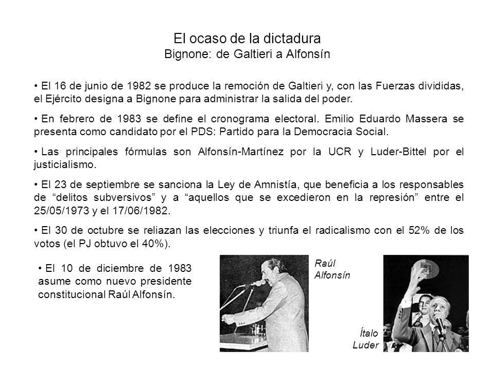 El ocaso de la dictadura Bignone: de Galtieri a Alfonsín El 16 de junio de 1982 se produce la remoción de Galtieri y, con las Fuerzas divididas, el Ejército designa a Bignone para administrar la salida del poder.