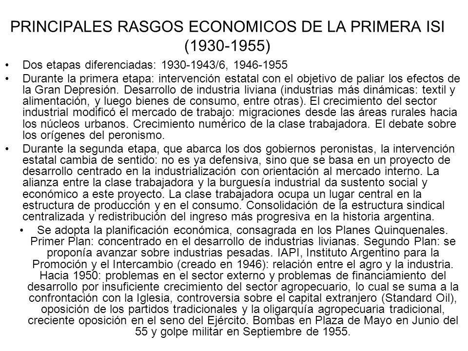 PRINCIPALES RASGOS ECONOMICOS DE LA PRIMERA ISI (1930-1955) Dos etapas diferenciadas: 1930-1943/6, 1946-1955 Durante la primera etapa: intervención estatal con el objetivo de paliar los efectos de la Gran Depresión.