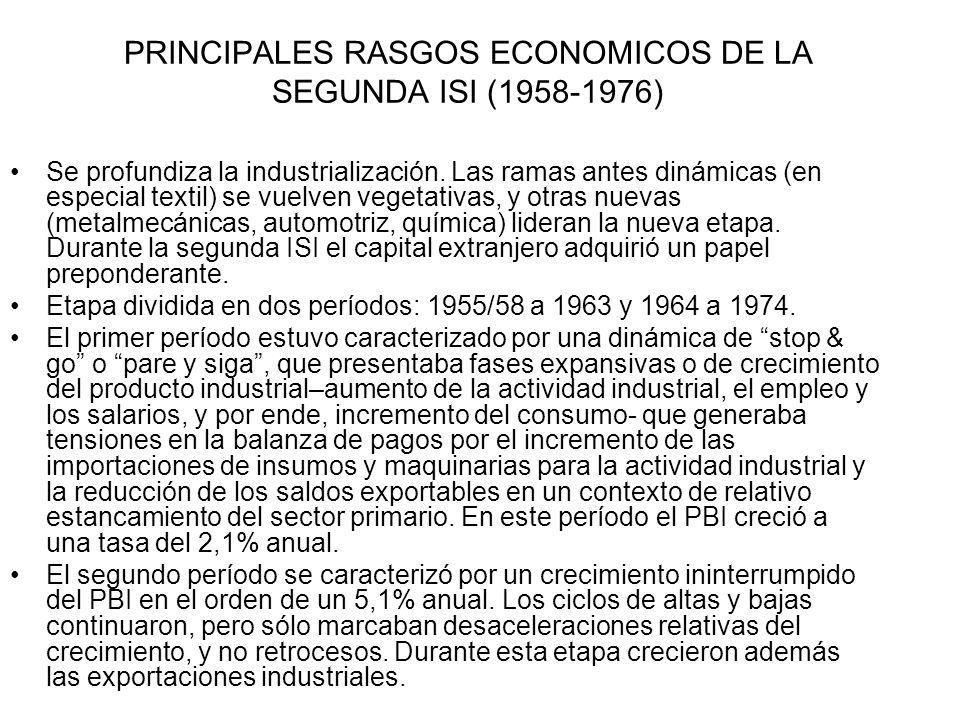 PRINCIPALES RASGOS ECONOMICOS DE LA SEGUNDA ISI (1958-1976) Se profundiza la industrialización. Las ramas antes dinámicas (en especial textil) se vuel