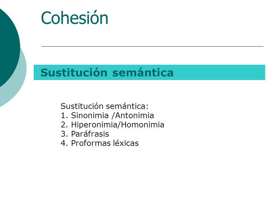2. Sustitución Cohesión Consiste en la sustitución de una palabra o una frase por otro término semánticamente a fin, por lo que ambos son, intercambia