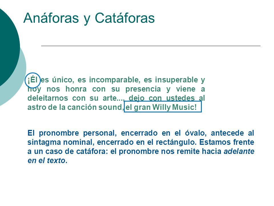 Anáforas y Catáforas La anáfora y la catáfora también son mecanismos de la cohesión textual.