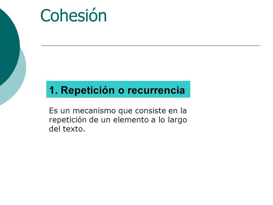 Mecanismos de Cohesión REGLAS DE TEXTUALIZACIÓN Repetición o recurrencia Sustitución Pronominalización, incluido Anáfora y Catáfora Concordancia Género y Número