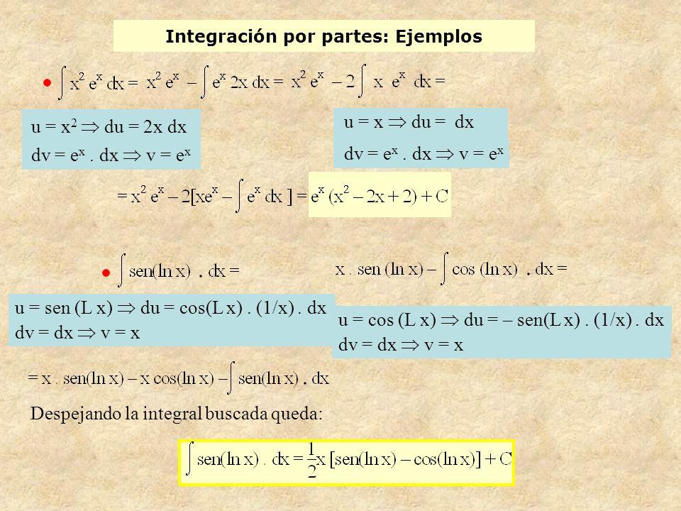 Integración por partes: Ejemplos u = x 2 du = 2x dx dv = e x.