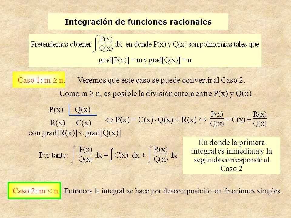 Integración de funciones racionales Caso 1: m n.