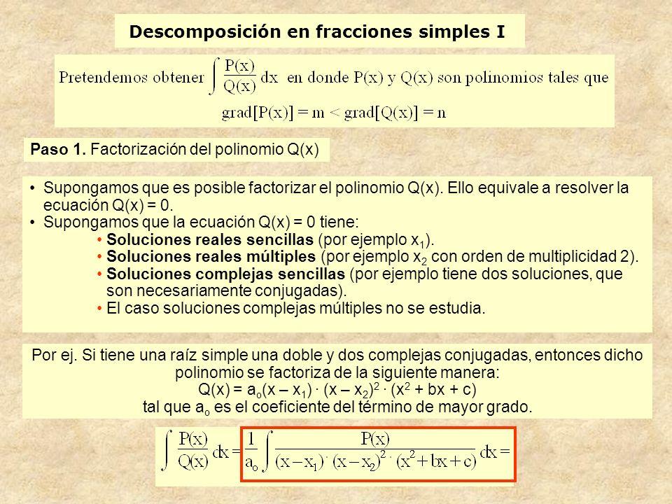 Descomposición en fracciones simples I Supongamos que es posible factorizar el polinomio Q(x).